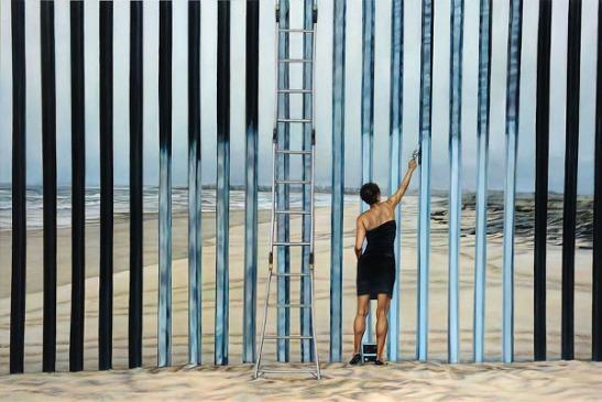 Ana Teresa Fernández, Erasing the Border (Borrando la Frontera), oil on canvas, Foreign Bodies, image courtesy of the artist and Gallery Wendi Norris, San Francisco