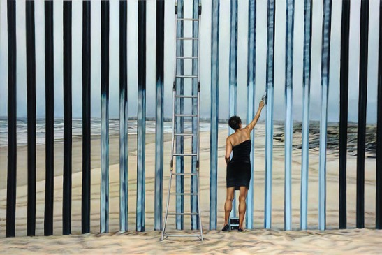 Ana Teresa Fernández, Erasing the Border (Borrando la Frontera), oil on canvas, Foreign Bodies, image courtesy of the artist and Gallery Wendi Norris, San Francisco